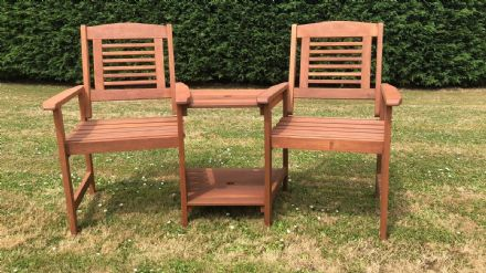 2 Seater Wooden Garden Love Seat Jack and Jill Bench
